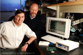 Tom and Jim with first microelectrode array device