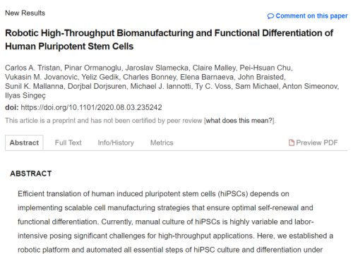 2020 Biorx publications on high throughput manufacturing of human pluripotent stem cells