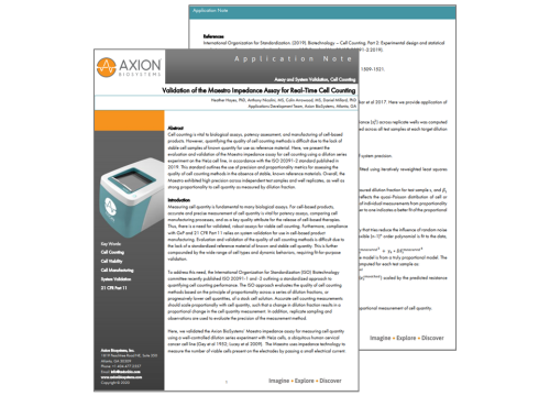 Axion Bio App Note Real-time Cell Counting