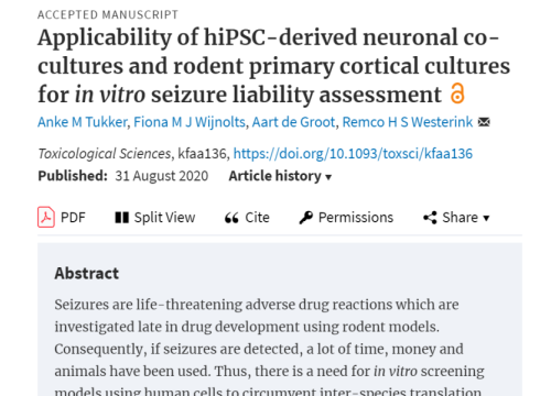 2020 Toxicology hiPSC-derived neuronal co-culture for seizure on MEA
